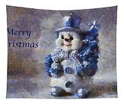 Snowman Merry Christmas Photo Art 02 Tapestry