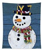 Snowman Winter Fun License Plate Art Tapestry