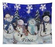 Snowmen Peace Photo Art Tapestry