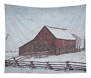 Snowstorm At The Ranch 2 Tapestry