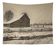 Snowstorm At The Ranch Sepia Tapestry