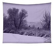 Snowy Bench In Purple Tapestry