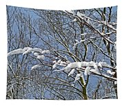 Snowy Branches With Blue Sky Tapestry