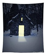 Snowy Chapel At Night Tapestry