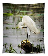 Snowy Egret In Swamp Tapestry