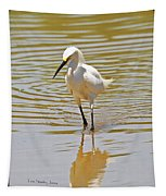 Snowy Egret Looking For Fish Tapestry