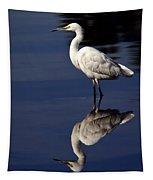 Snowy Egret Reflection  Tapestry