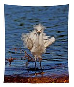 Snowy Egret With Yellow Feet Tapestry