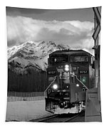 Snowy Engine Through The Rockies Tapestry