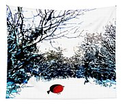 Snowy Forest At Christmas Time Tapestry