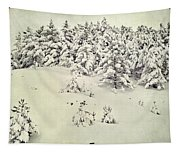 Snowy Forest Vintage Tapestry