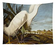 Snowy Heron Or White Egret Tapestry