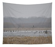 Snowy Morning On The Pond Tapestry
