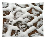 Snowy Path And Paw Prints Tapestry