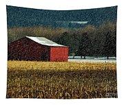 Snowy Red Barn In Winter Tapestry