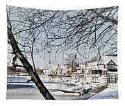 Snowy View Of Boathouserow Tapestry