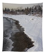 Snowy Winter Beach Patterns - Lake Ontario Toronto Canada Tapestry