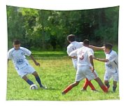 Soccer Ball In Play Tapestry