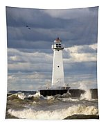 Sodus Outer Lighthouse On Stormy Lake Tapestry