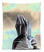 Solar Praying Hands Tapestry