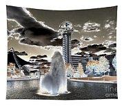 Solarized Infrared City Park Tapestry
