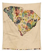 South Carolina Map Vintage Watercolor Tapestry