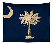 South Carolina State Flag Art On Worn Canvas Tapestry