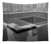 South Tower Pool In Black And White Tapestry