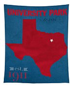 Southern Methodist University Mustangs Dallas Texas College Town State Map Poster Series No 098 Tapestry