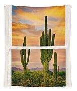 Southwest Desert Sunset White Rustic Distressed Window Art Tapestry