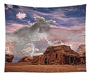 Southwest Navajo Rock House And Lightning Strikes Hdr Tapestry
