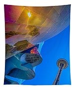 Space Needle And Emp In Perspective Hdr Tapestry