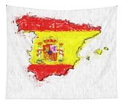 Spain Painted Flag Map Tapestry