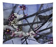 Sparrow And The Beauty Berry Tapestry