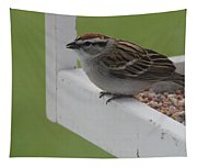 Sparrow On Feeder Tapestry