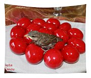 Sparrow On Red Eggs Tapestry
