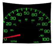 Speedometer On Black Isolated Tapestry