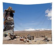 Spiritual Cairn In The Peruvian Altiplano Tapestry