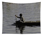Splashing In The Water Caused Due To Kashmiri Man Rowing A Small Boat Tapestry