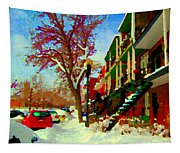 Splendor And Colors Of Quebec Winters Verdun Montreal Urban Street Scene Carole Spandau Tapestry
