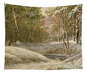 Sportsmen In A Winter Forest Tapestry