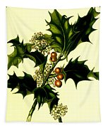 Sprig Of Holly With Berries And Flowers Vintage Poster Tapestry