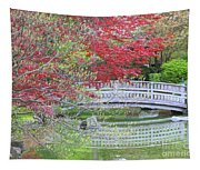 Spring Color Over Japanese Garden Bridge Tapestry