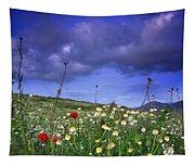 Spring Sunset Windy Days Tapestry