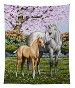 Spring's Gift - Mare And Foal Tapestry