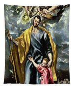 Saint Joseph And The Christ Child Tapestry