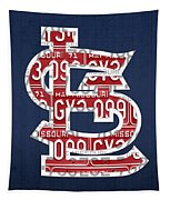 St. Louis Cardinals Baseball Vintage Logo License Plate Art Tapestry