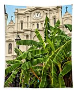 St. Louis Cathedral And Banana Trees New Orleans Tapestry
