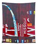 St. Louis Skyline License Plate Art Tapestry by Design Turnpike