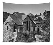 St Malo Chapel On The Rock Colorado Bw Tapestry